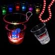 Lite-up Rainbow LED Glow Light Up Shot Glass with J Hook - Rainbow 2 oz lighted LED Glow shot glass medallion.