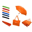 "All-In-One Tote Bag/Folding Umbrella - 20"" x 13"" nylon tote bag and 15 3/4"" x 2"" x 2"" folding umbrella with color matched handle and storage sleeve. 42"" arc."