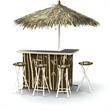 Tiki Display/Bar - Deluxe Package - Standard Package with L-shaped Bar unit, cooler, umbrella, travel case & 4 stools.