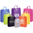Frosted Soft Loops - Frosted shopping bag with poly handles and cardboard bottom insert.