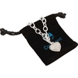 Crystal Heart Bracelet - Silver-plated bracelet with a heart charm accented by crystal and an Egyptian toggle clasp.