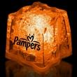 """Orange 1 3/8"""" Premium Light-Up Glow Cube - Orange 1 3/8"""" novelty ice cube with LED lights."""