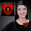 Blinking red heart clip - Blank or Imprinted. Red heart shaped clip on badge with flashing LED light.