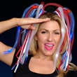 Red, White, Blue Noodle Headband with LED's and Ribbons