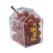 Candy Bin Dispenser with Chocolate Sports Balls - Candy bin house shaped dispenser with chocolate sports balls basketballs.