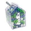 Candy Bin Dispenser with Corporate Colored Chocolates Candy - Candy bin dispenser with corporate color chocolate candy.