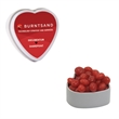 Heart Tin with Cinnamon Red Hots Candy - Valentines Day - White heart tin container with cinnamon red hots candy for valentines day.