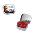 White Mini Candy Tin with Cinnamon Red Hots - White mini candy tin with cinnamon red hots candy.