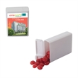 Refillable Plastic Candy Dispenser with Cinnamon Red Hots - Cinnamon red hots candy in refillable plastic dispenser container.