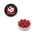 Small White Snap-Top Tin with Cinnamon Red Hots - Small white snap-top mint tin with cinnamon red hots tart candy.