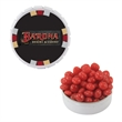 Snap-Top Candy Tin with Cinnamon Red Hots - White snap-top candy tin with cinnamon red hots tart candy.