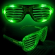 Green Light Up Glow LED Slotted Glasses - Green  LED light-up slotted glasses made of plastic.