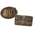 "Belt buckle - Die struck brass belt buckle, 2 3/8"" x 3"". Made in USA."