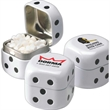 Dice Shaped Direct Imprint Tin filled with MicroMints® - Dice shaped tin filled with mints.
