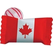 Individual Canadian Peppermint Stock Wrapped Candy - Stock wrapped Red Stripe Peppermint candy with Canadian Flag Maple Leaf on wrapper.