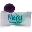 "Stock Wrapped Individual ""Merci"" Candy - Stock wrapped mixed fruit candy with Merci and Thank You on wrapper."