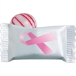 Stock Awareness Individually Wrapped Candy - Stock wrapped Red Stripe Peppermint candy with Pink Breast Cancer Awareness Ribbon.