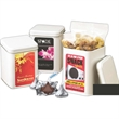 White Imprinted Canister filled with Gourmet Coffee Bbeans - Canister filled with coffee beans