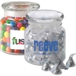 22 oz glass jar filled with personalized clear mint - 22 oz glass jar filled with personalized individually wrapped clear mints.