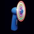 Blue Handheld Fan w/ Multi-Color LED Lights - Blue handheld fan with multi-colored LED lights.