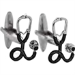 Trust Me I'm a Doctor Cufflinks - Stethoscope shaped cufflinks with black enamel detailing.