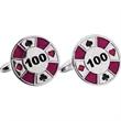I Raise You 200 Cufflinks - Casino / poker chip shaped design cufflinks with a swivel back closure.