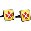 Brass Cufflinks - Enamel / Square - Rhodium Plated - Brass with rhodium plating square cufflinks with a torpedo style closure.