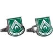 Brass Cufflinks - Custom Shape with Screen Print - Custom crest shape cufflinks with a torpedo style closure.