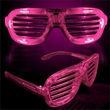 Pink Light-Up LED Slotted Glasses - Pink LED light-up slotted glasses made of plastic.