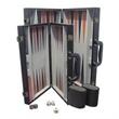 Black Leatherette Backgammon set - Medium - Black Leatherette Backgammon set - Medium