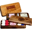Game Box - Game set in wood box with dominoes, poker playing cards and casino dice.