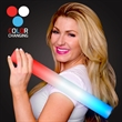 """Red/White/Blue Light Up Foam Wands - Stock Red, White, and Blue LED 16"""" Foam Cheer Sticks. Blank."""