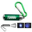 Keychain Light with Carabiner - 2 Modes - Green - Green keychain light with 2 modes and carabiner.