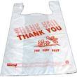 "Plastic T-shirt Shopping Bags - Plastic t-shirt shopping bags, 10 1/4"" x 6"" x 20"". Reusable. Blank."