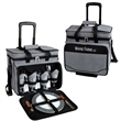 Picnic Cooler for Four on Wheels - Picnic kit with divided cooler compartment and zippered lid opening.
