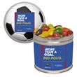 Half Quart Tin with Jelly Bean Candy - Half quart tin with jelly beans candy.  These Christmas tins are great as a holiday or corporate food gift.