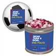 Half Quart Tin with Candy Hearts - Half quart containers with candy hearts.  These Christmas tins are great as a holiday or corporate food gift.
