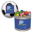 Half Quart Tin Containers with Gumballs - Half quart tin can containers with gumballs or gum balls.  These Christmas tins are great as a holiday or corporate food gift.