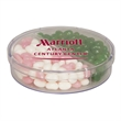 Acrylic Full Moon Container with Corporate Color Jelly Beans - Full moon acrylic show piece container with corporate color jelly beans.