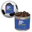 Half Quart Tin w/ Chocolate Covered Raisins - Half quart tin with chocolate covered raisins.  These Christmas tins are great as a holiday or corporate food gift.