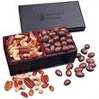 Chocolate Almonds & Mixed Nuts in Faux Leather Gift Box - faux leather gift box filled with chocolate covered almonds and deluxe mixed nuts