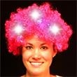 Light Up Fuzzy Wig - Pink - LED - Light up pink fuzzy wig with 9 LED lights