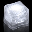 """Premium Lited Ice White LED Light-Up Ice Cubes - Blank - 1 3/8"""" frosted plastic premium ice cube with built-in white LED lights that have 3 light settings; sold blank."""