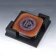 Optical crystal coaster with  wooden base - Optical crystal coaster with  wooden base