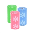 Paw Print Pet Waste Bag Dispenser Refill - Pet waste bag dispenser refill bags in a roll of twenty; features a paw print design and available in three colors.