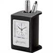 "Alba Desk Clock & Pen Cup - 3.25"" x 4.25"" x 2.75"" Alba leatherette desk clock and pen cup; includes analog alarm clock with 1 3/4"" face and quartz movement."