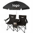 Foldable Duo Beach Chair Set with Umbrella - Foldable duo beach chair set with umbrella.