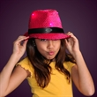 Sequin Pink Fedora Hats with Flashing LEDs - Printed sequin pink fedora hat with flashing LEDs.