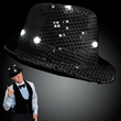 Sequin Fedora hat with flashing LED lights - Shiny black Fedora hat with flashing lights. Blank.