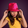 Sequin Fedora hat with flashing LED lights - Shiny pink Fedora hat with flashing lights. Blank.